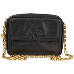 1994 Chanel Black Caviar Leather Vintage Timeless Camera Bag