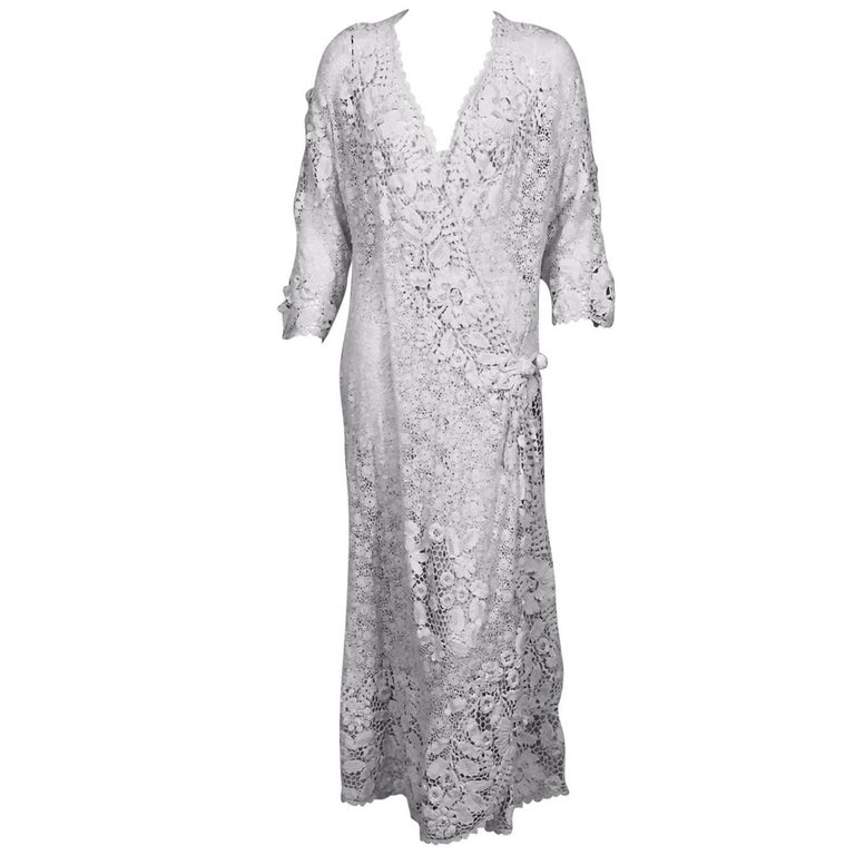 Irish Lace Hand Made White Coat or Dress, Early 20th Century For Sale