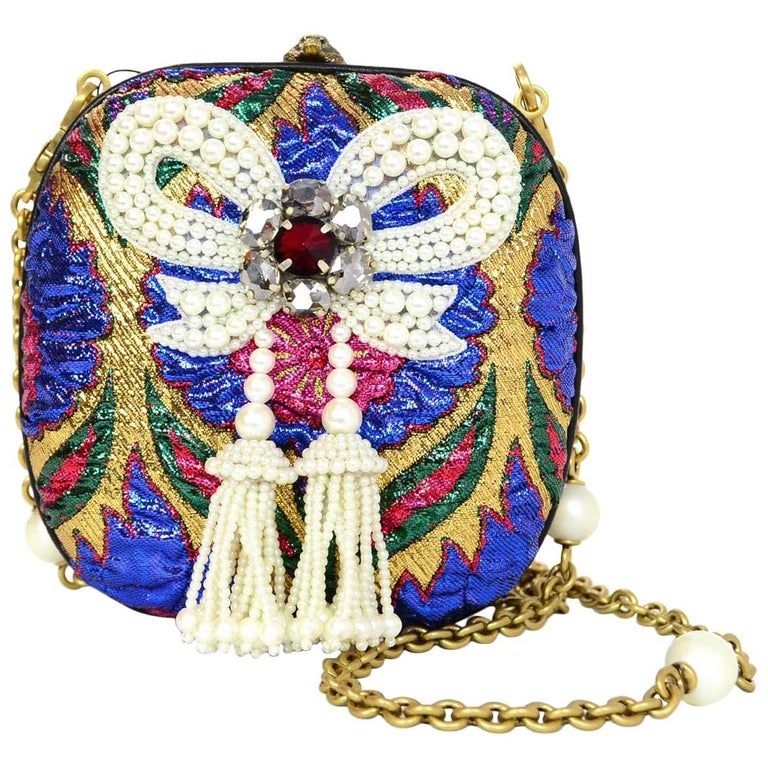 Gucci Brocade Broadway Faux Pearl Embellished Bow Minaudiere Clutch Bag
