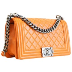 797c5f49c2dd Chanel Old Medium Boy Bag in Orange with Silver Hardware
