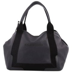 Balenciaga Navy Cabas Leather Small