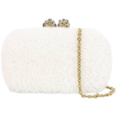 Alexander McQueen Off-White Mini Shearling Queen King Box Clutch/Crossbody Bag