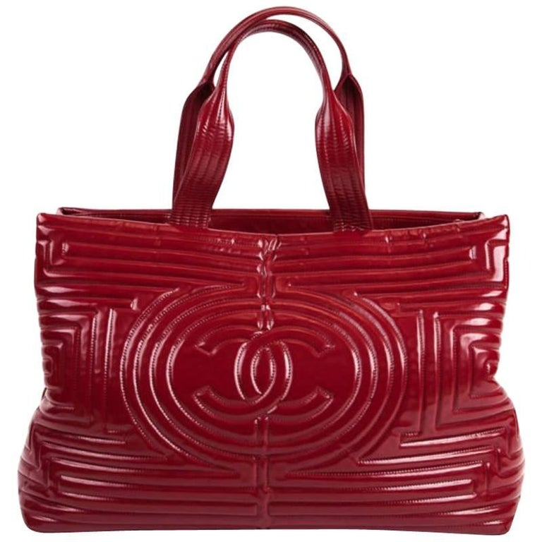 Chanel Large Red Vinyl Ming Coco Vinyl Tote Bag