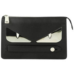 Fendi Monster Handle Clutch Leather Small