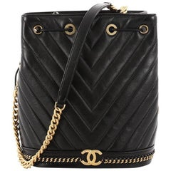 Chanel Paris Cosmopolite Drawstring Bucket Bag Chevron Lambskin Medium
