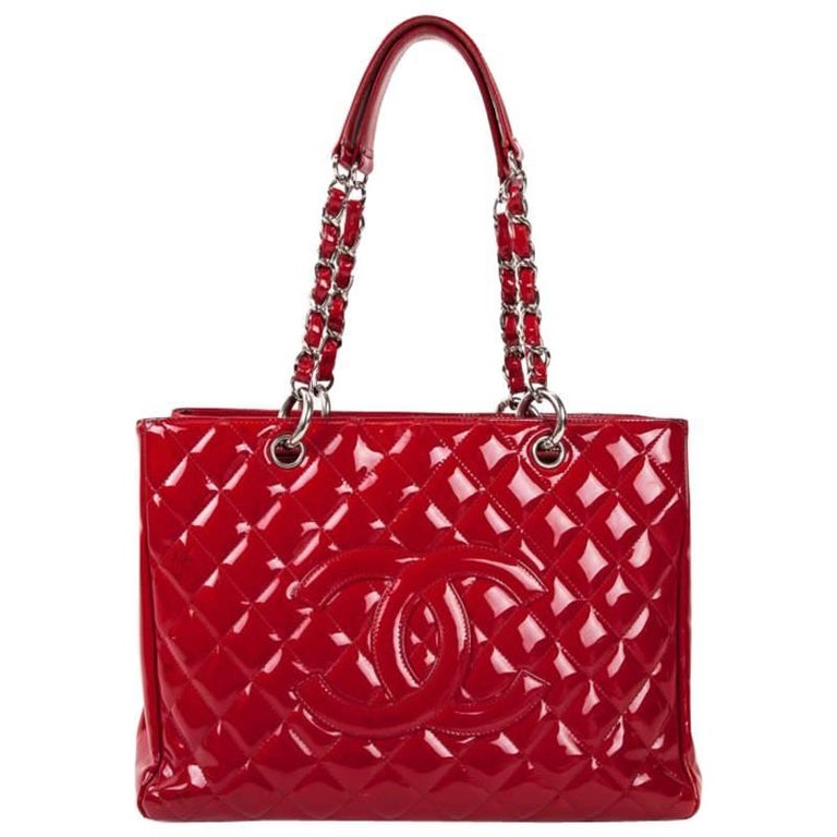 Chanel Quilted Red Patent Leather GST