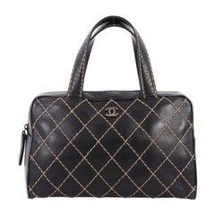 Chanel Surpique Zip Around Satchel Quilted Leather Medium
