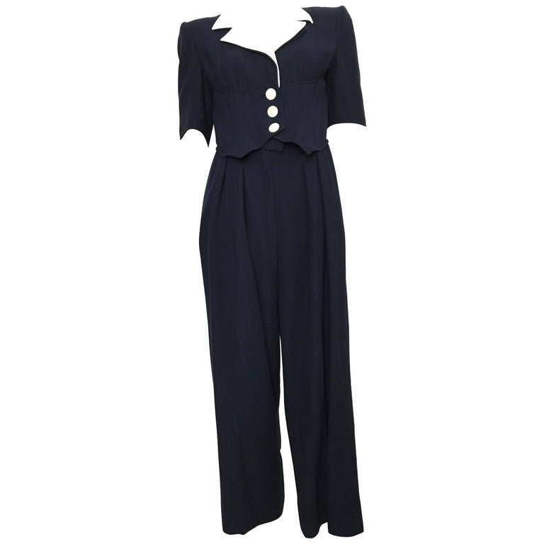 Valentino Boutique Wool Navy Jumpsuit with Pockets, 1980s