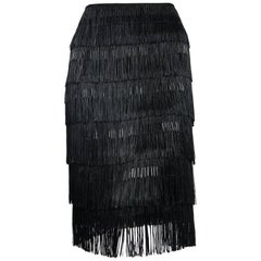 2005 Alexander McQueen Documented Black Beaded Silk Tiered Fringe Flapper Skirt