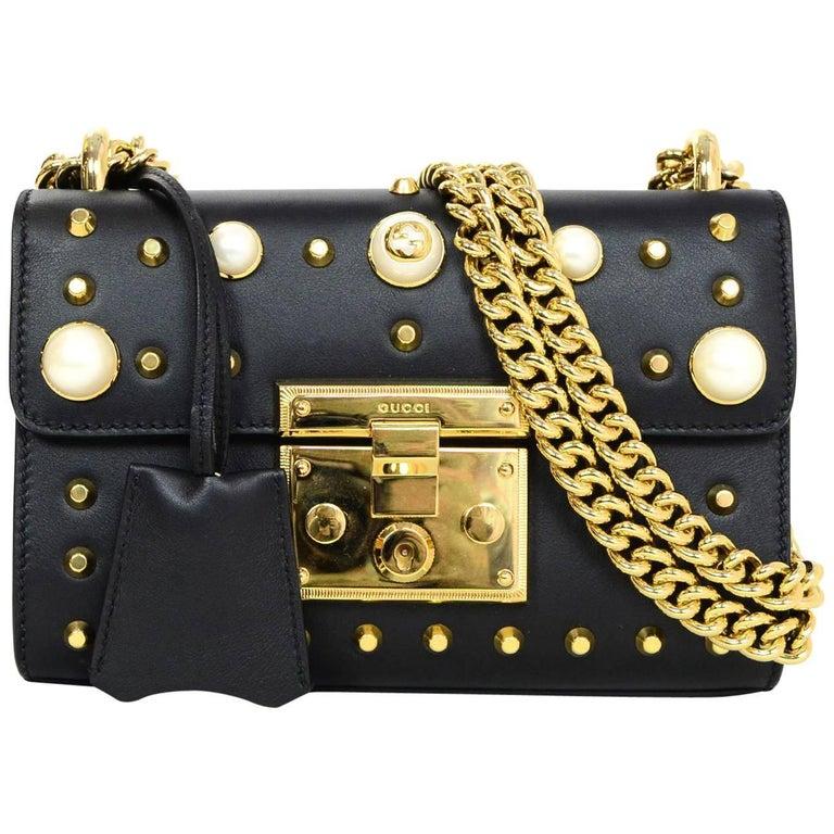 Gucci Black Leather & Faux Pearl Studded Padlock Shoulder Bag w. Dust Bag