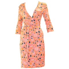Diane Von Furstenberg Jeanne Geometric Logo Print Silk Jersey Wrap Size 10