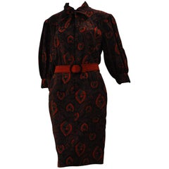 Jean Louis Scherrer Light Wool Paisley Dress #64459, 1990
