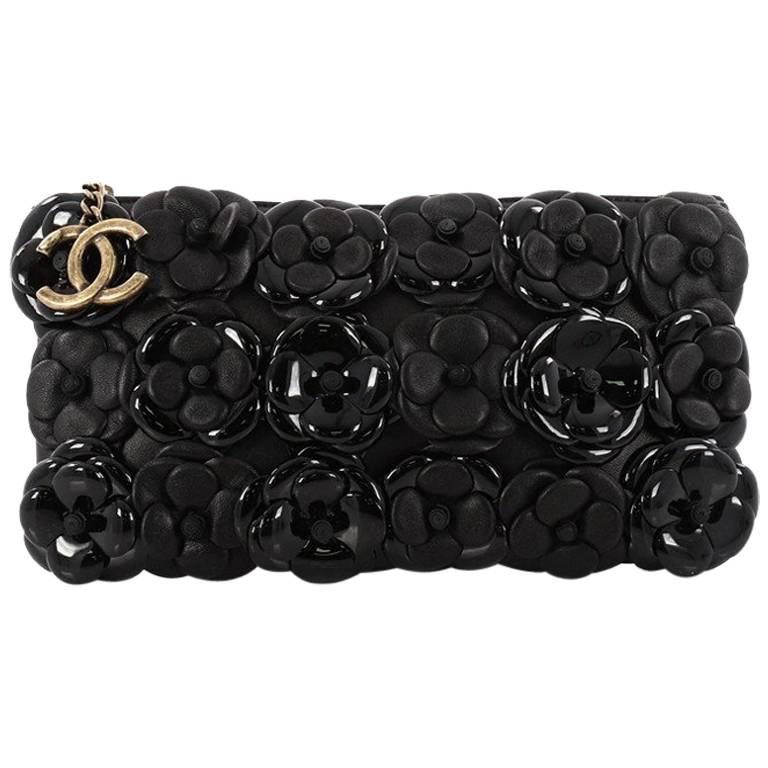 ea5600b82f4584 Chanel Camellia Chain Pochette Embellished Lambskin and Patent Small For  Sale