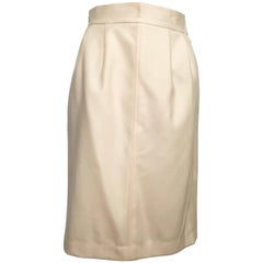 Saint Laurent Rive Gauche Wool Cream Pencil Skirt with Pockets, 1980s
