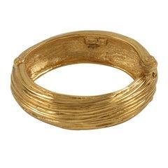 Yves Saint Laurent YSL Paris Gilt Metal Clamper Bracelet