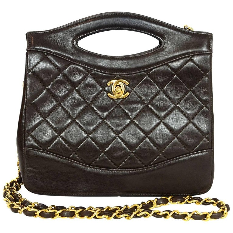 Chanel Vintage Brown Lambskin Quilted Mini Satchel Crossbody Bag