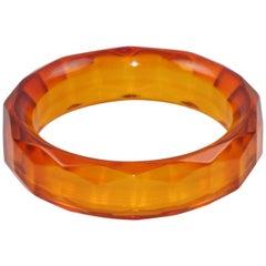 Bakelite Bracelet Bangle Faceted Carved Design Transparent Prystal Orangeade