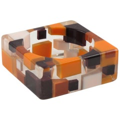 Oversized Lucite Resin Bracelet Bangle Geometric Inclusions Orange Brown & White