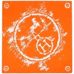 """HERMES c.2009 Hugo Grygkar """"Ex-Libris Globe-Trotter"""" Signature Logo Silk Scarf"""
