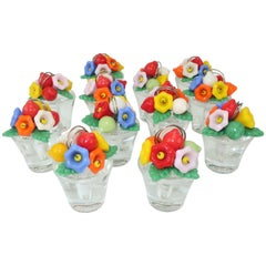 1920's Czechoslovakian Glass Flower Pot Place Card Holders