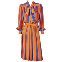 Yves Saint Laurent Rive Gauche Silk Stripe Day Dress