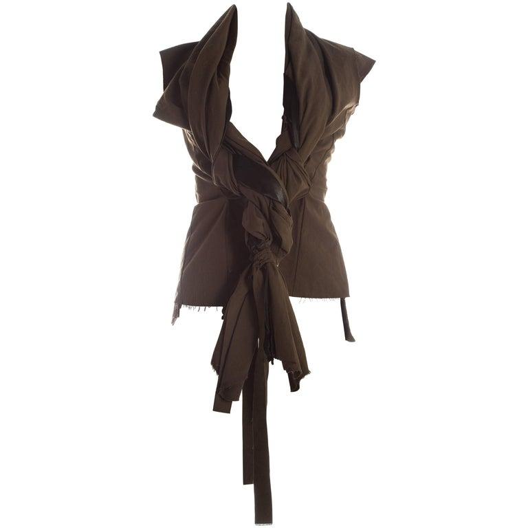 Comme des Garcons khaki green cotton waistcoat with large braids, S / S 2003