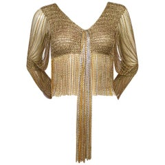 Loris Azzaro French Hand Crocheted Lurex and Metal Chain Trimmed Cardigan Top