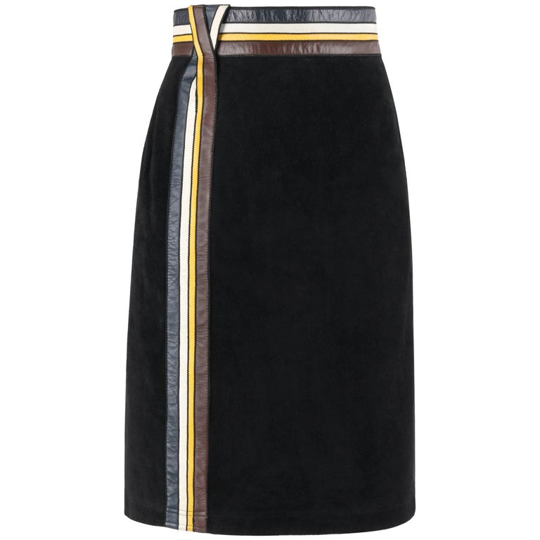 PIERRE CARDIN c.1960's Black Suede Striped Leather Trim Knee Length Skirt