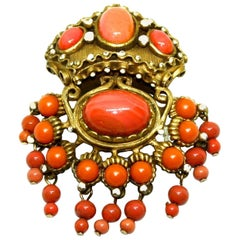 Coral Colour Brooch by Kenneth Jay Lane, Circa 1960's