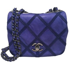 Chanel Electric Blue Topstitch Small Classic Flap Shoulder Bag