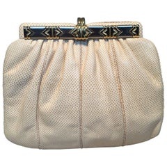 Judith Leiber Beige Lizard Leather Vintage Clutch