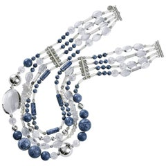 Rock Lily Coral Crystal Nugget Labradorite Pearl Quartz Layered Necklace