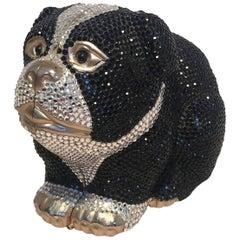 Judith Leiber Swarovski Crystal Bulldog Minaudiere Evening Bag