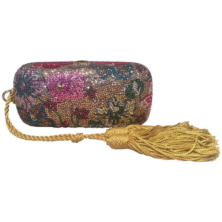 Judith Leiber Swarovski Crystal Floral Print Mini Minaudiere with Tassel Rope For Sale