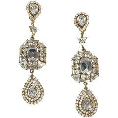 YVES SAINT LAURENT Vintage Dangling Clip-on Earrings with Rhinestones