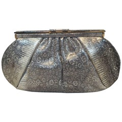 Judith Leiber Gold and Natural Gray Ring Lizard Clutch