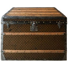 LOUIS VUITTON Vintage 'Universal Exhibition' Trunk in Checkered Brown Canvas