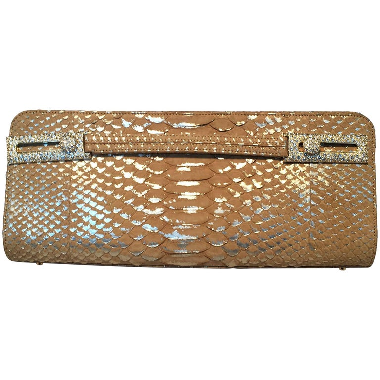 Judith Leiber Tan and Gold Faux Snakeskin Python Crystal Buckle Clutch