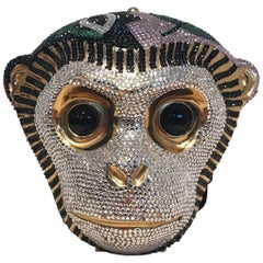 Judith Leiber Swarovski Crystal Monkey Head Minaudiere Evening Bag