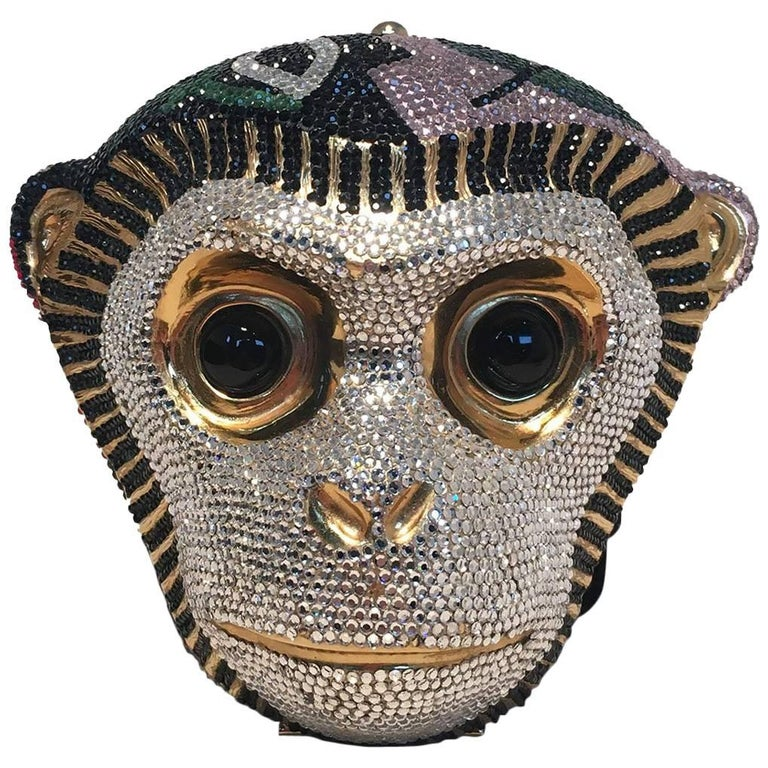 Judith Leiber Swarovski Crystal Monkey Head Minaudiere Evening Bag