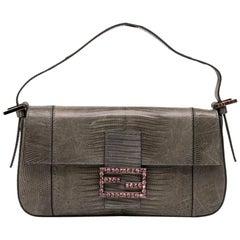 FENDI Baguette Bag in Gray Lizard