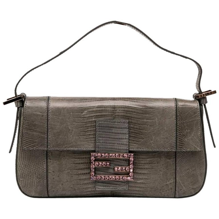 2b6a245aa6 FENDI Baguette Bag in Gray Lizard For Sale at 1stdibs