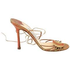 Jimmy Choo Shoe Metallic Strappy Ankle Tie Stiletto Heel  39 / 9