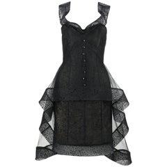 ALEX TEIH Black Silk Tulle Polka Dot High Low Avant Garde Formal Cocktail Dress