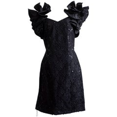 1980s Ruffle Sleeve Cocktail Dress