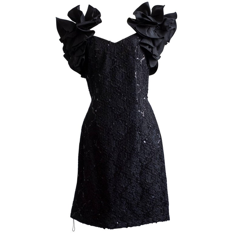 1980s Ruffle Sleeve Cocktail Dress