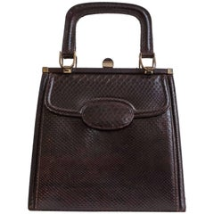 Vintage 1950s Leather Purse,Top Handle Bag