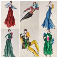 Cardinali Fashion 1970's Original Fashion Illustrations by Robert W. Richards