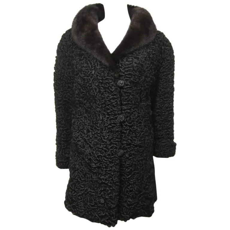 Vintage Chloe Persian Lamb Coat with Mink Fur Collar Jacket