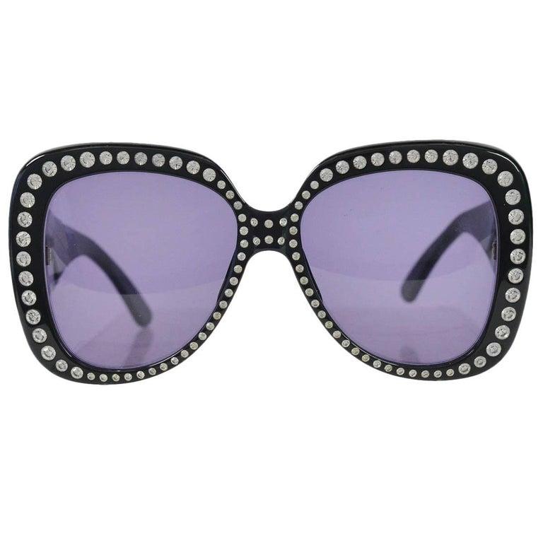 Chanel Vintage Rhinestone Oversized Runway Sunglasses, 1990s